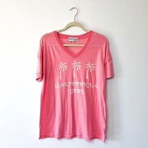 Wildfox Pink California Girl Palm Tree V Neck Tee